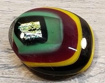 VTG OOAK Art Glass Pin Brooch with DIchroic Metallic Glass Center