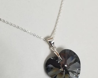 925 Sterling Silver Necklace with Silver Night Swarovski® Crystal Heart  #2133