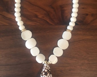 Shell and bone bead necklace