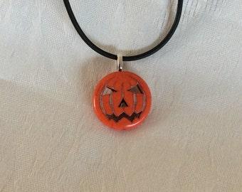 Halloween Pumpkin Pendant Necklace Black Cord