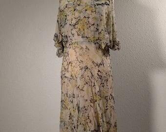 1930's floral gown, silk chiffon, vintage 30's dress, floral dress