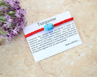 Gemstone amulet Turquoise bracelet Red thread Kabbalah Bracelet Hand Charm Bracelet Love bracelet Macrame bracelet Natural bracelet