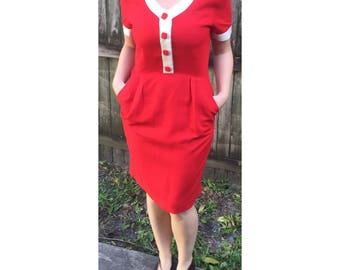80s Talbots Red Dress with White Details, Red Buttons & Pockets | Size 8-10