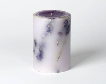 Lavender Candle - Natural Dried Flowers - Scented Candle - Pillar Candle - Hostess Gift - Bedroom Decor - Gifts for Her - LaReineNYC