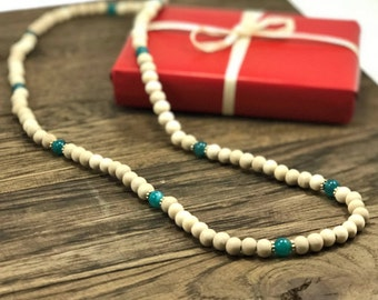 Wood Bead Necklace | Sea Blue Beaded Necklace Wooden Bead Necklace Bohemian Wood Necklace | Boho Necklace Design For Less