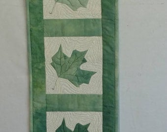 Custom Quilted Maple Leaf Table Runner
