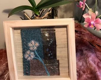 Two Blue Flowers, Silk Velvet on Tweed, Textile Art
