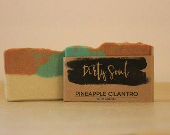 Pineapple Cilantro Scent | Cream Soap | Palm Oil Free | w/ Shea Butter , Cocoa Butter & Colloidal Oatmeal
