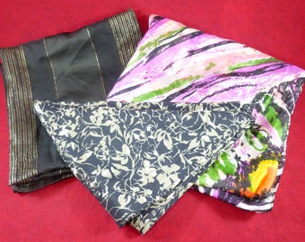 Set of 3 vintage scarves - silk and synthetic