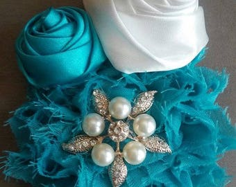 Teal and White Floral Headband with Silver & Pearl accent