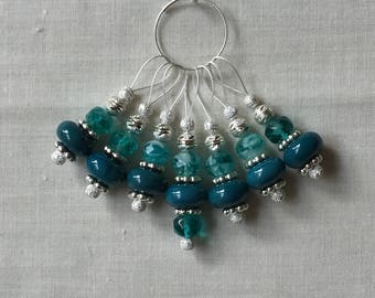 Turquoise and Silver Knitting Stitch Markers