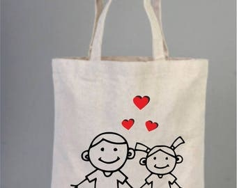 Valentines day gift, Valentines day tote, Valentine bag,Cotton bag, Tote bag canvas, Stick person, Stick Man, Stick Figures Tote, Love Heart