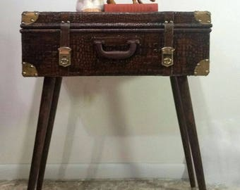 Vintage Style bohemian suitcase table with angled, tapered legs