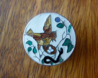 Button champleve enamel bird's nest and snake - early 1900's.