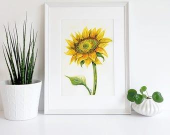 Art Print, Wall Art Print, Nature Print, Home Wall Decor, Apartment Wall Art, Poster, Gift, Sunflower Watercolor Instant Download Art Print