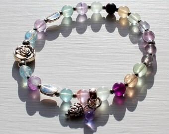 Natural Multicolour Fluorite Gemstone Stretch Ladies Handmade Bracelet. Fluorite Jewellery. Purple Bracelet.