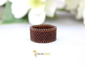 Matte and Satin Brown Band Beaded Unisex Handmade Ring for Everyday. Sport Ring. Peyote Delica Ring. Men Ring. Frosted Brown Ring.