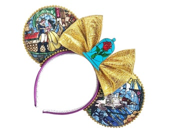 Beauty and the Beast Mouse Ears   Belle Mouse Ears    Beauty and the Beast   Mouse Ears Headband   Mouse Ears