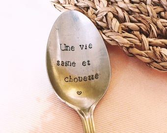 """Spoon to give to his girlfriend, MOM, Grandma """"OWL and healthy life"""" - engraved spoon"""