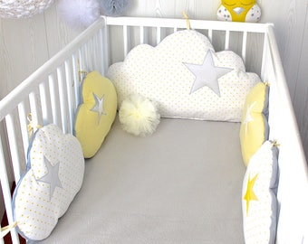 Baby cot bumpers for 70cm wide bed, 5 yellow, white and grey cloud pillows