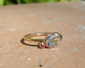 Ring 18 K gold, aquamarine ring, Ruby ring, thin ring, jewelry, handmade ring, unique ring, blue stone ring.