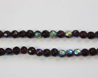 Glass Beads, 6 mm Faceted Round Beads, Brown/Purple Transparent Beads, Aurora Borealis,  Fancy Beads, DIY, BS242