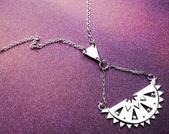Sterling Silver Sun Pendant - Inca Sun Necklace - Half Round Pendant - Geometric Pattern Necklace - Solid Silver Triangle Necklace - Fan