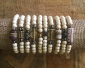 White Bone Afrocentric Bracelet Bundles: Gifts for Her, Gifts for Him, Bracelets for Her, Bracelets for Him, Handmade, African Jewelry