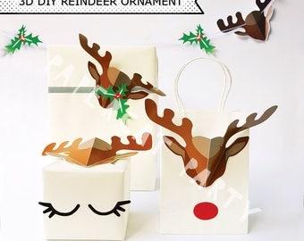 Christmas Reindeer Ornaments / Xmas Reindeer Antler Gift Bag/ Gift Wrap/ Paper Xmas Decorations/ Printable PDF kit / instant Download/ DIY