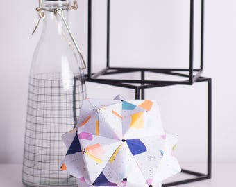 Geometric | Speckled | Modular Origami | Paper Sculpture | Nursery Decor | Anniversary Gift | Wedding Gift
