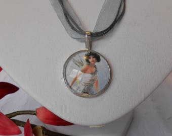Necklace grey and white Elf º backed º cabochon silver plated