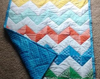 Chevron Baby Quilt - Baby Quilt - Crib Size - Handmade - Gender Neutral - Baby Shower Gift