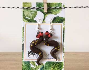 brown snake polymer clay earrings