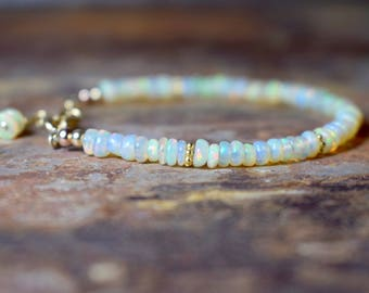 Ethiopian Opal Bracelet, Opal & 14k Gold Filled Bracelet, Welo Opal Jewellery, October Birthstone, Jewellery UK, Genuine AAA Beaded Opal