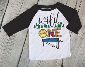 Wild One Boys Outdoorsy Black Raglan Shirt, Cute Boys Shirt, Boys First Birthday Shirt, Boys Baseball Shirt, Boys Raglan Tee - R413W