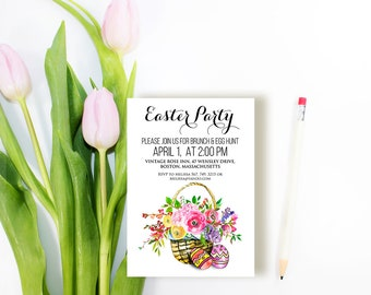 Easter Basket Party Invitations Printable Easter Invitations Easter Eggs Spring Flowers Watercolor Floral Invitation Digital DIY Invitations