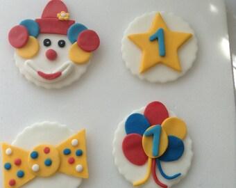 4 Edible Sugar Paste Fondant Clown Cupcake  Cake Toppers