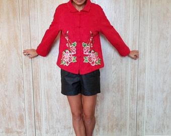 Vintage jacket,Chinese jacket,Asian jacket,Red jacket,Embroidery jacket,Trend jacket,Women jacket,Spring jacket,Autumn jacket,Ethnic jacket,