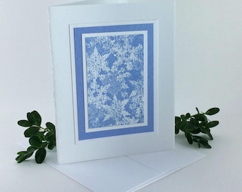Falling snow on blue embossed blank card, individually handmade: A2, notecards, fine cards, winter, SKU A21002