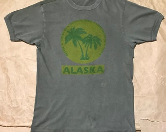 ALASKA-vegan handprinted vintage army T-shirt size M
