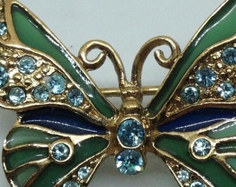 Pretty Blue Rhinestone Green Enamel Butterfly Brooch Signed LC
