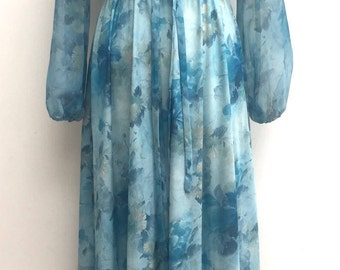 Vintage blue floral maxi floaty dress size 12