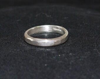 Hammered silver ring Hallmarked Size R