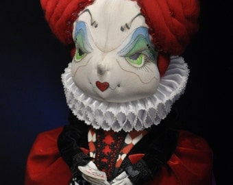 Red Queen. Queen of Hearts (interior doll, fabric toy, textile doll, Burton's character). Красная королева Текстильная кукла