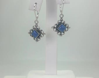 Sterling silver, handcrafted Bali Indonesia drop with genuine square Denim Lapis lever back earring (made in USA)