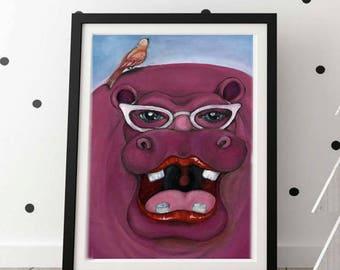 Hippo Art, Hippo, Hippo Print, Hippo Art Print, Wall Decor Hippo, Nursery Hippo
