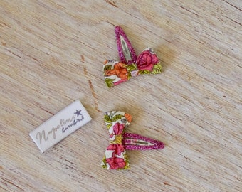 Liberty Bow Hair Clips - Liberty Phyllis print on pink glitter clips