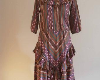 1980s Southwestern Stoplight California ruffle shoulder skirt blouse two piece dress set S