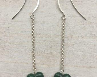 Vintage Lucite Emerald Heart Drop Earrings