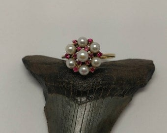 Antique 18k Pearl & Ruby Cluster Ring